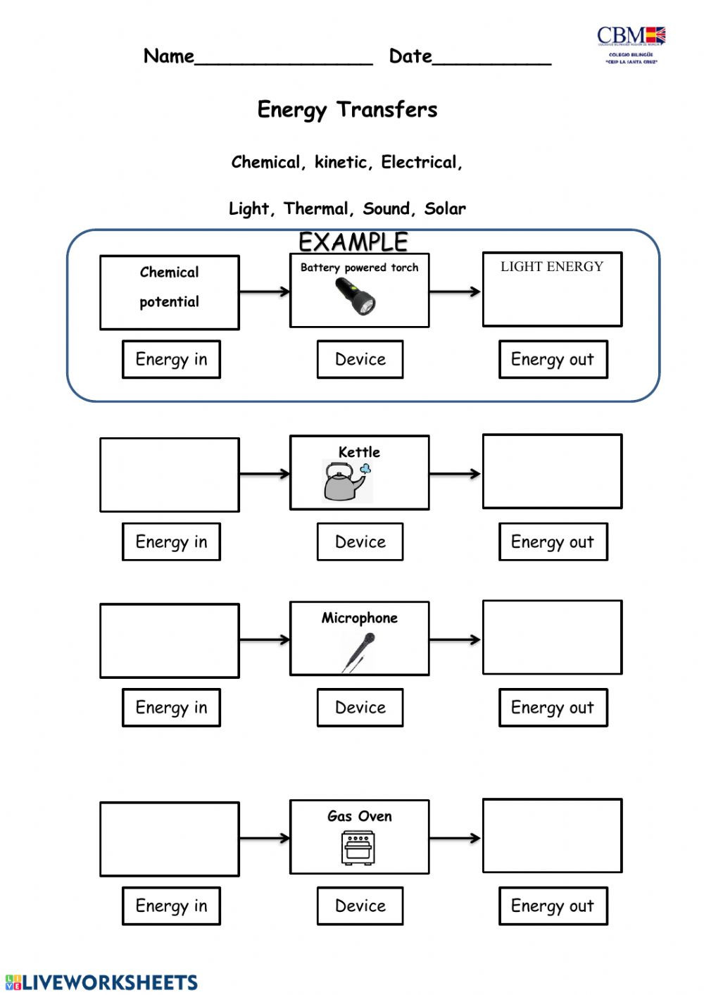 Energy 4th Grade Worksheets Energy Transformation Interactive Worksheet