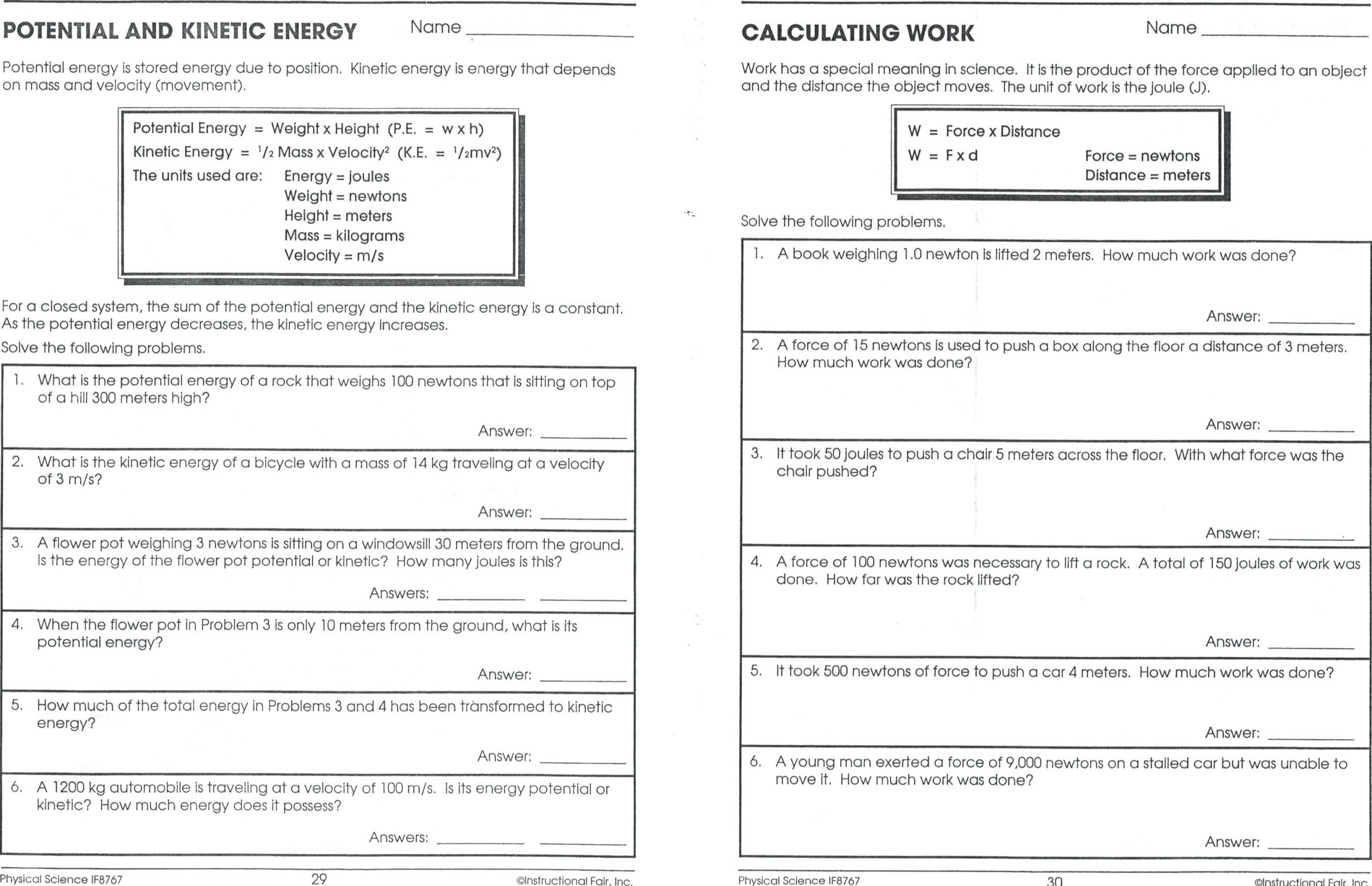 Energy Worksheets Middle School Pdf Potential and Kinetic Energy Worksheet 6th Grade Nidecmege