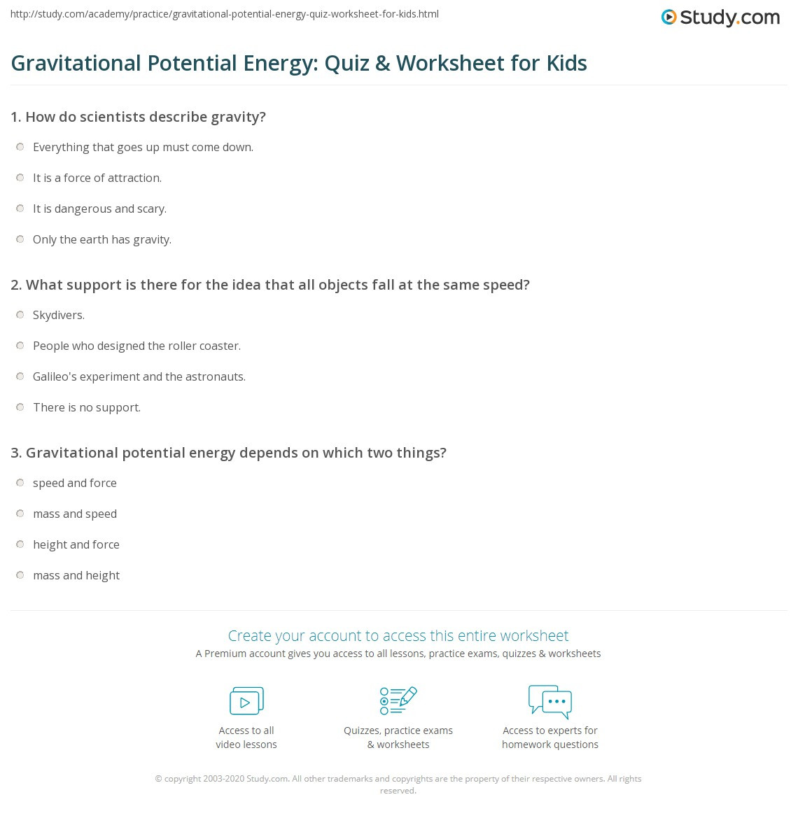 Energy Worksheets Middle School Pdf Potential Energy for Kids Search