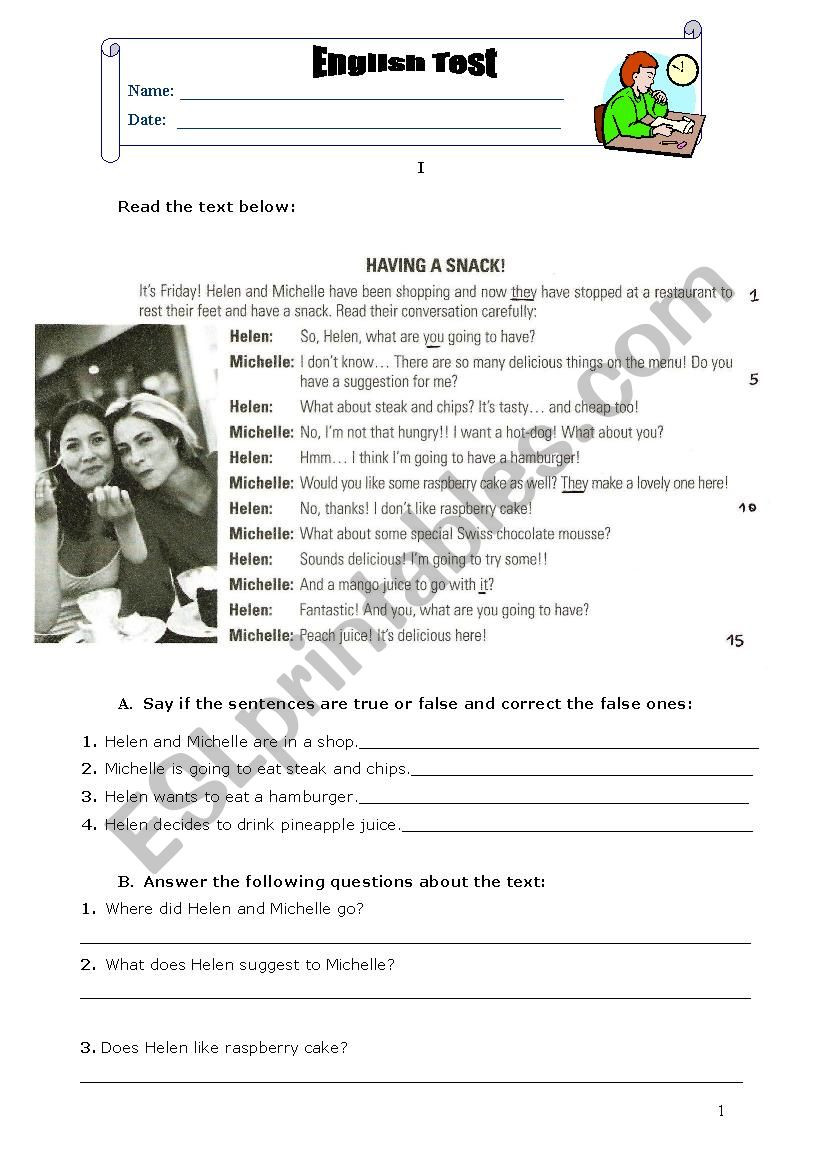 English Worksheets for 8th Grade English Test 8th Grade Food Esl Worksheet by Laranjitasf