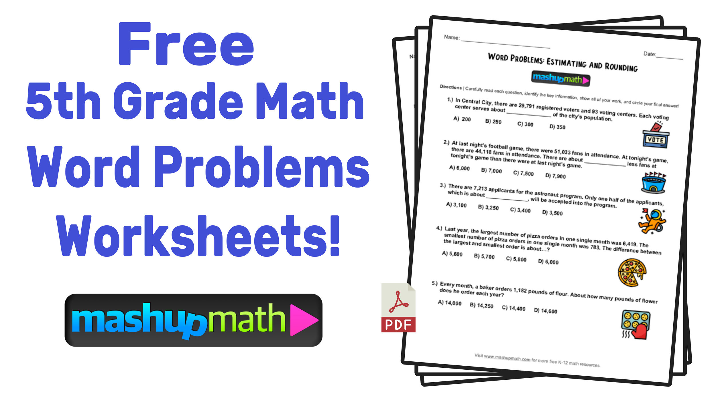 Estimating Word Problems 3rd Grade 5th Grade Math Word Problems Free Worksheets with Answers