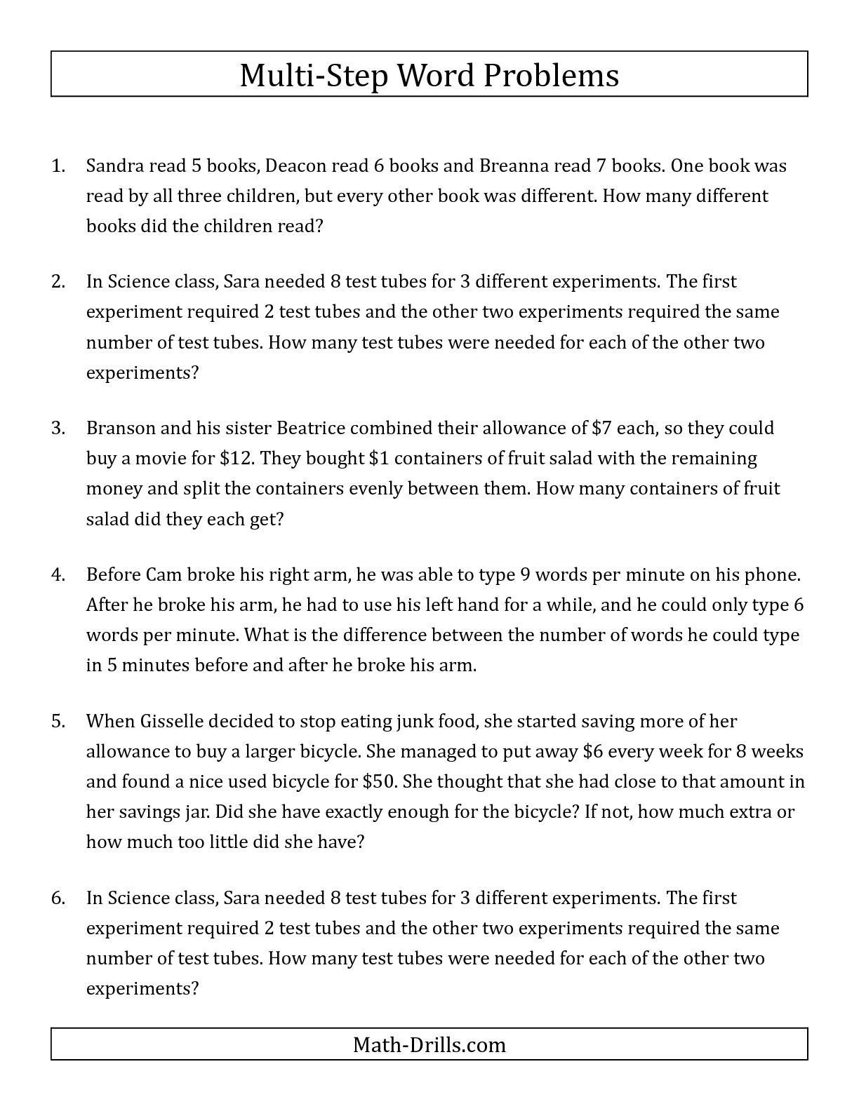 Estimating Word Problems 3rd Grade the Easy Multi Step Word Problems Math Worksheet From the