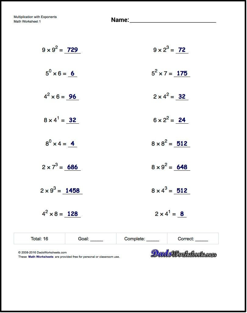 Exponents Worksheets 6th Grade Pdf Practice Exponents Worksheets Introducing Exponent Syntax