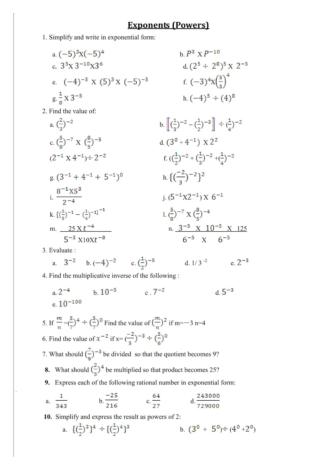 Exponents Worksheets 6th Grade Pdf Worksheet Exponents and Powers