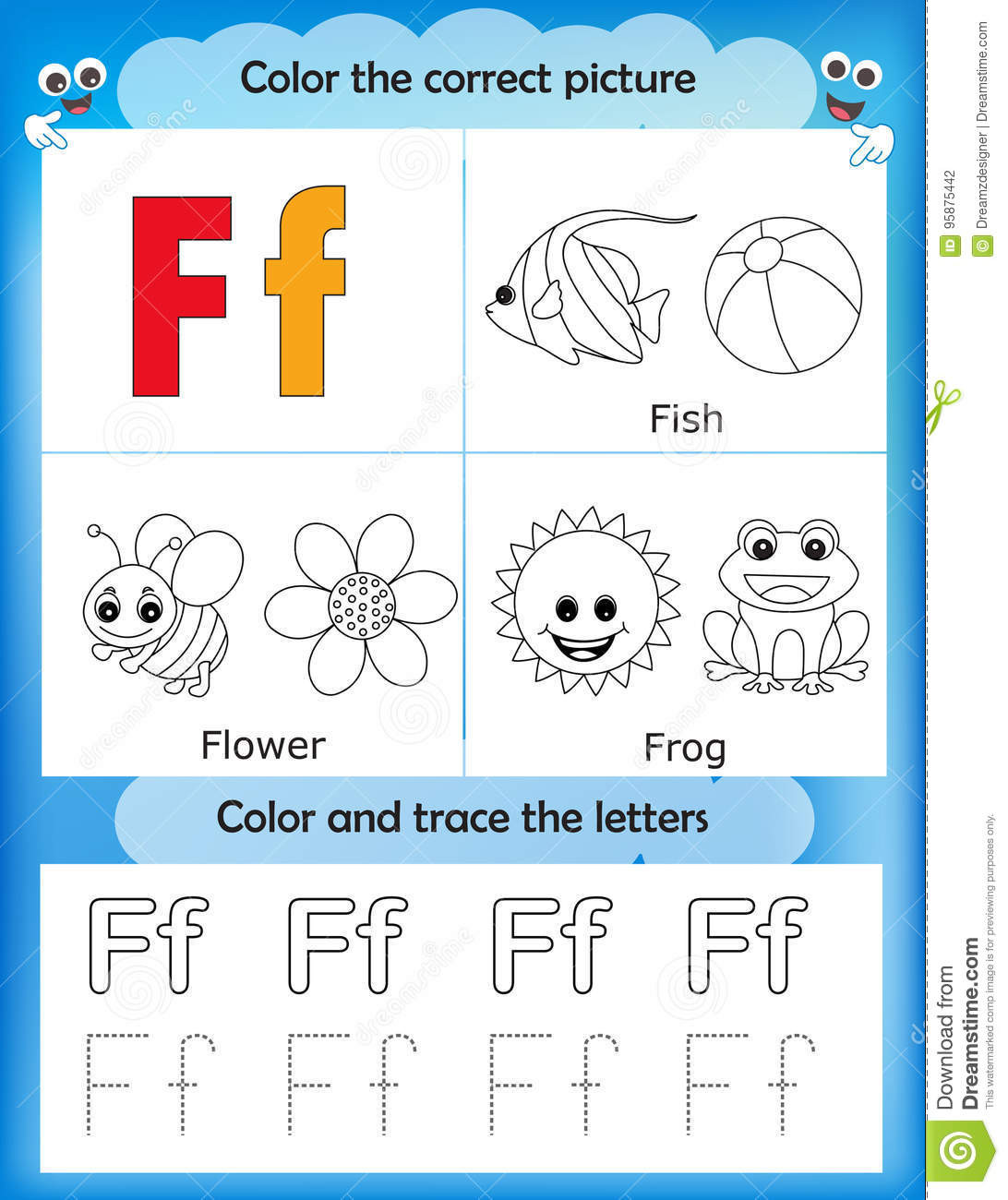 F Worksheets for Preschool Alphabet Learning and Color Letter F Stock Illustration