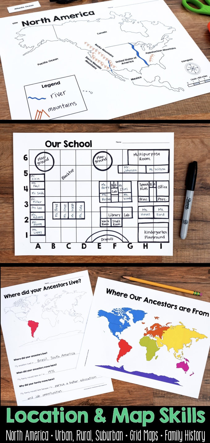 First Grade Map Skills Worksheets Map Skills & Location social Stu S Unit