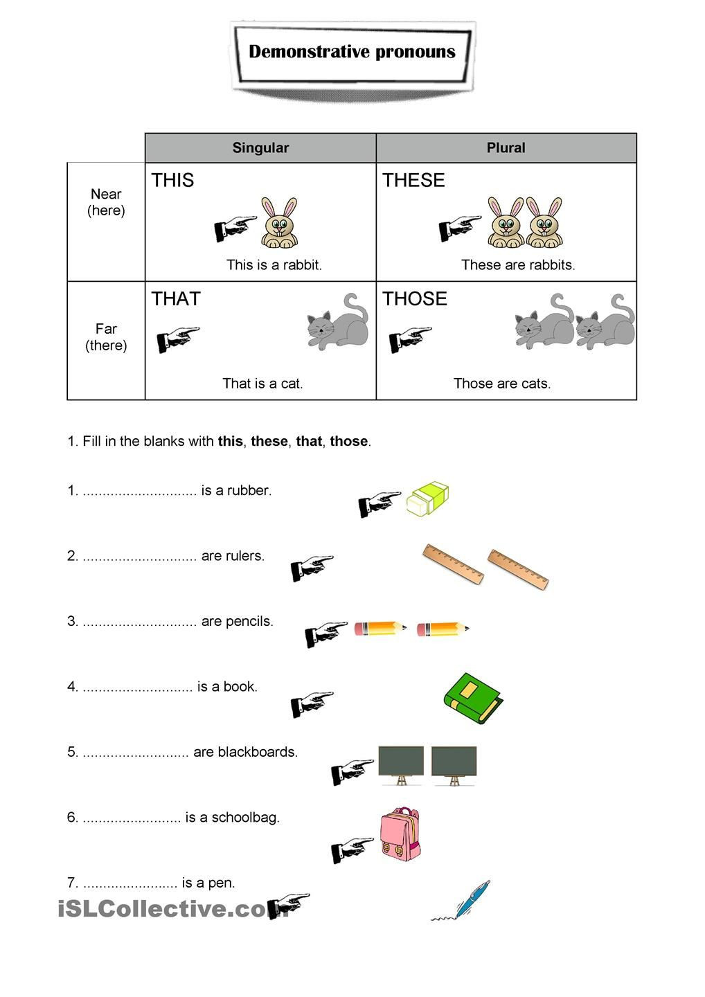 First Grade Pronoun Worksheets Demonstrative Pronouns Worksheet