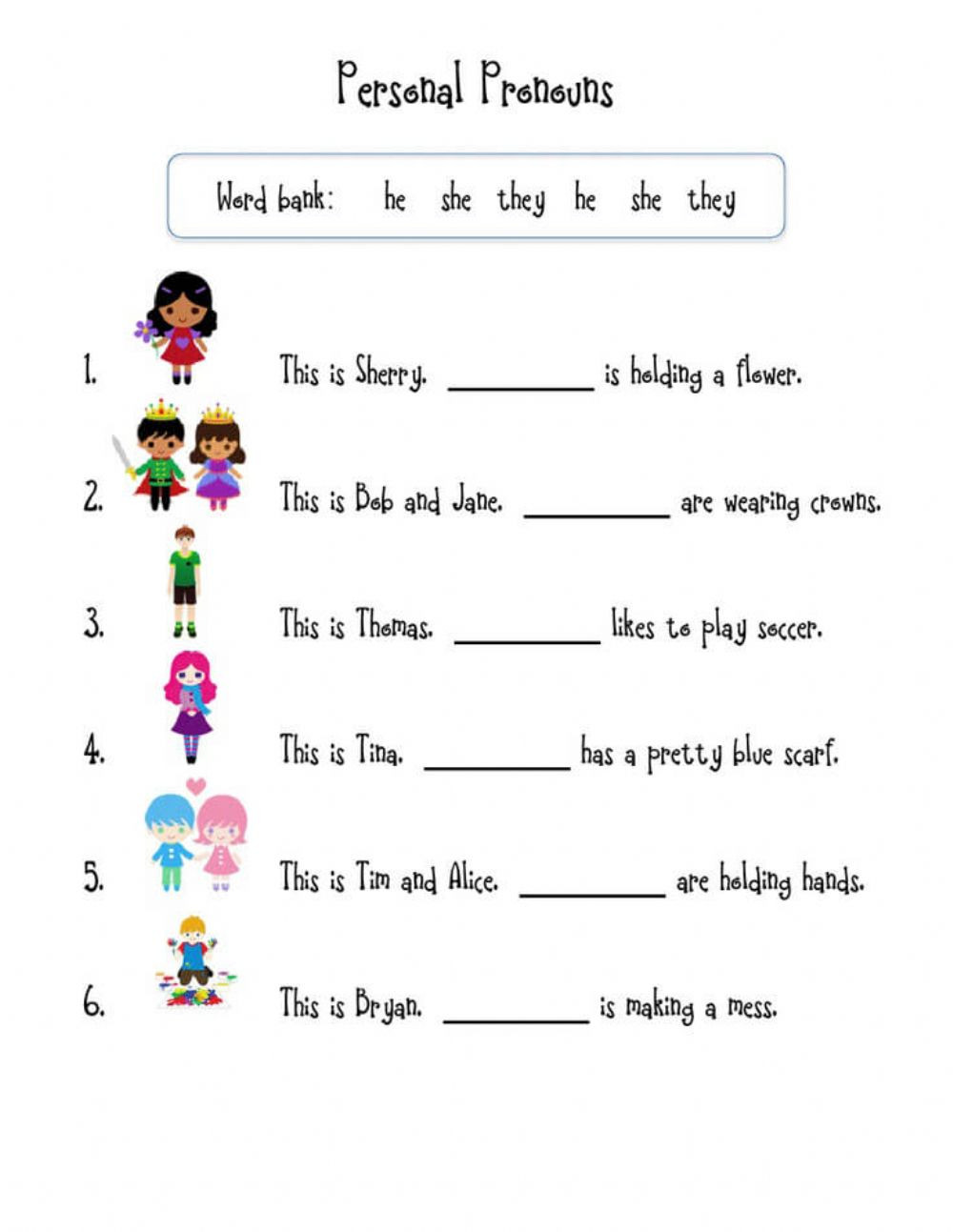 First Grade Pronoun Worksheets Pronouns Interactive Worksheet