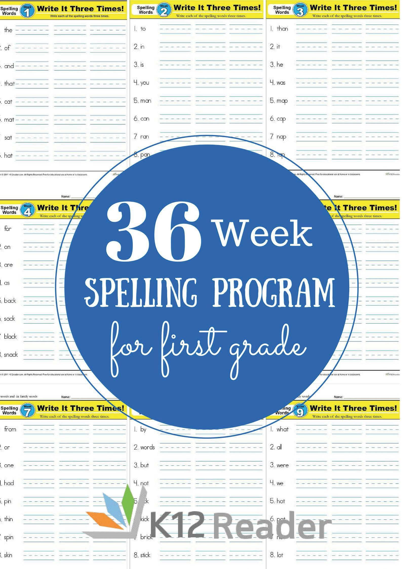 First Grade Spelling Words Worksheets First Grade Spelling Words – Free 1st Grade Weekly List