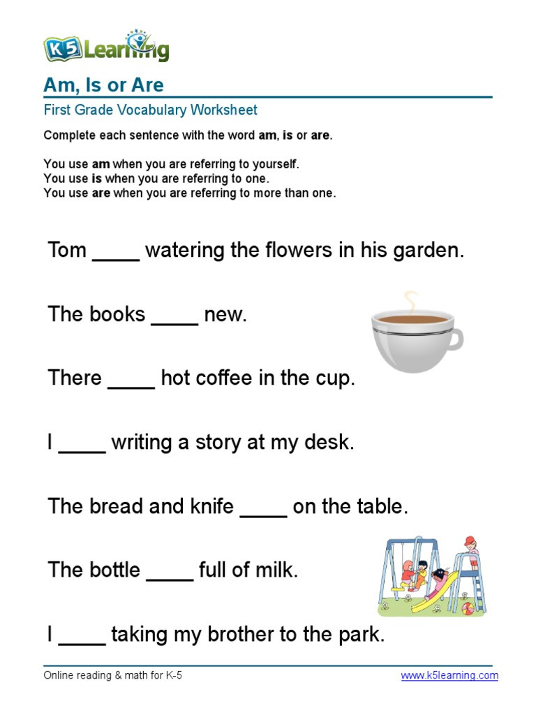 First Grade Vocabulary Worksheets 1st Grade Am is are Sentences 1 Pdf