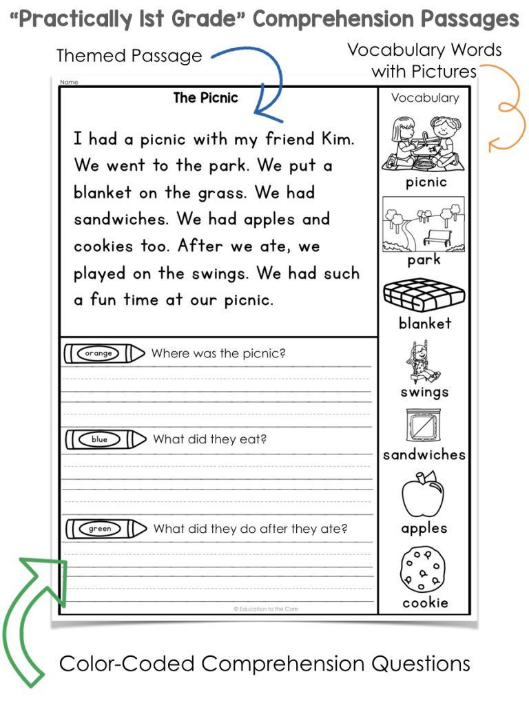First Grade Vocabulary Worksheets First Grade Reading Prehension Worksheets Pdf Free