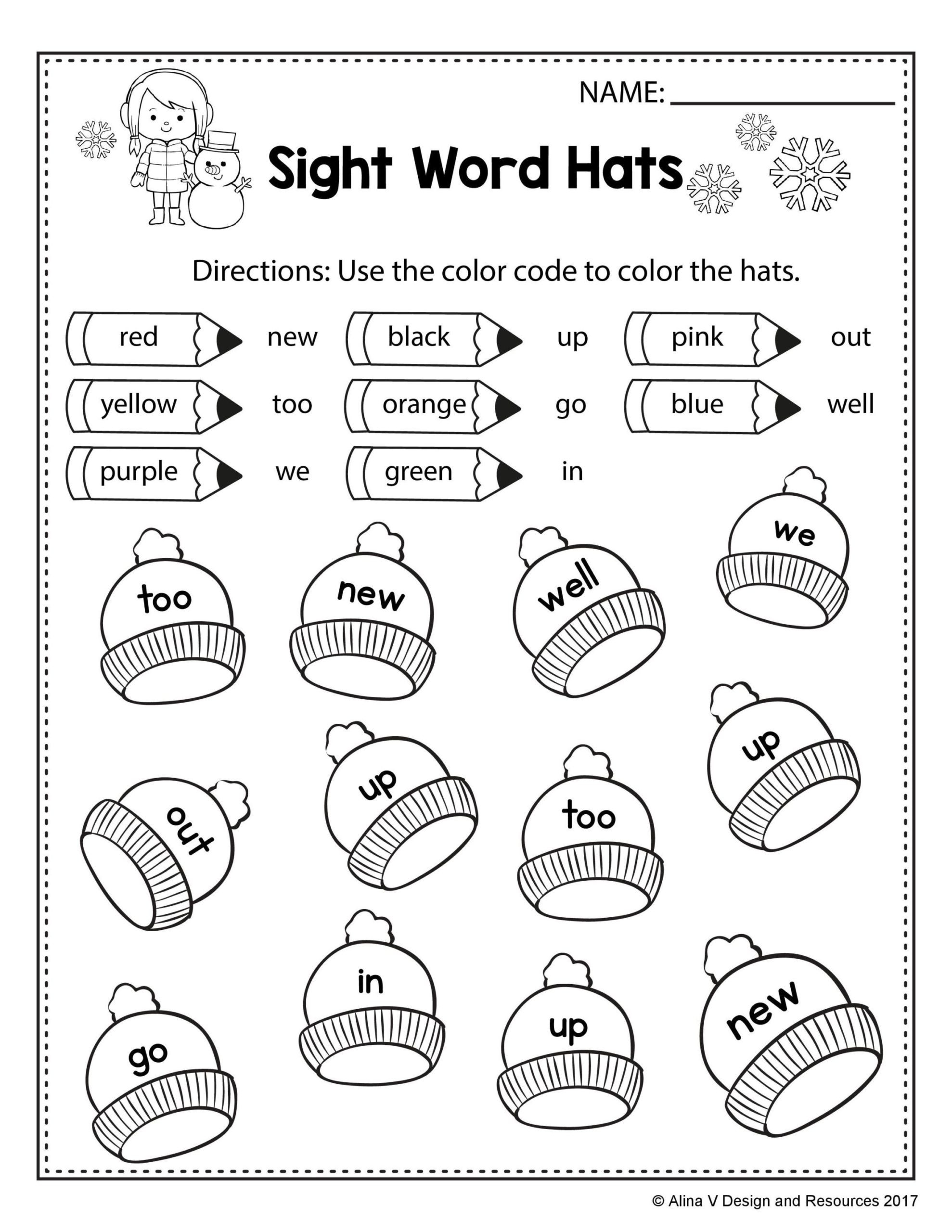 First Grade Vocabulary Worksheets Free Winter Coloring for First Grade Pre Sight Words