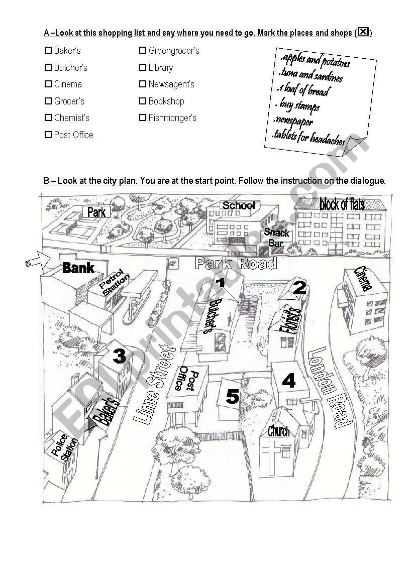 Following Directions Printables Following Street Directions Esl Worksheet by Mkrez