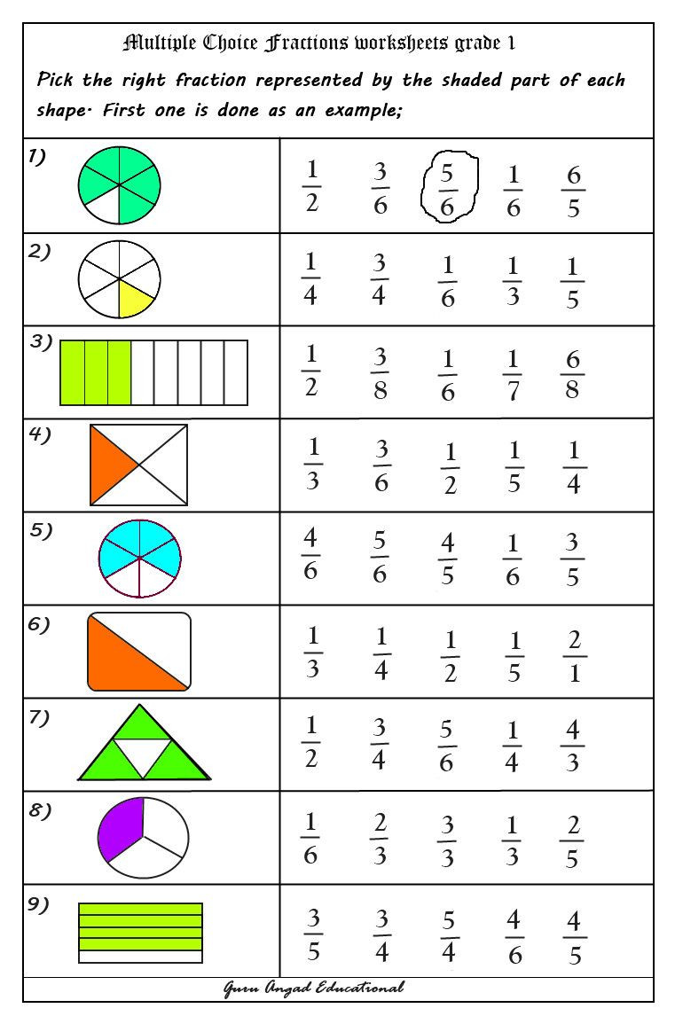 Fractions Worksheets First Grade 2nd Grade Fractions Worksheets In with Free Math
