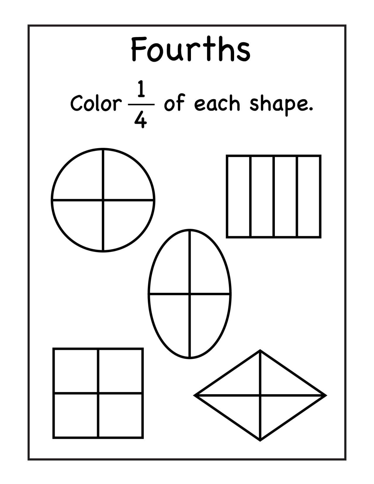 Fractions Worksheets First Grade Fraction Worksheets for 1st Grade