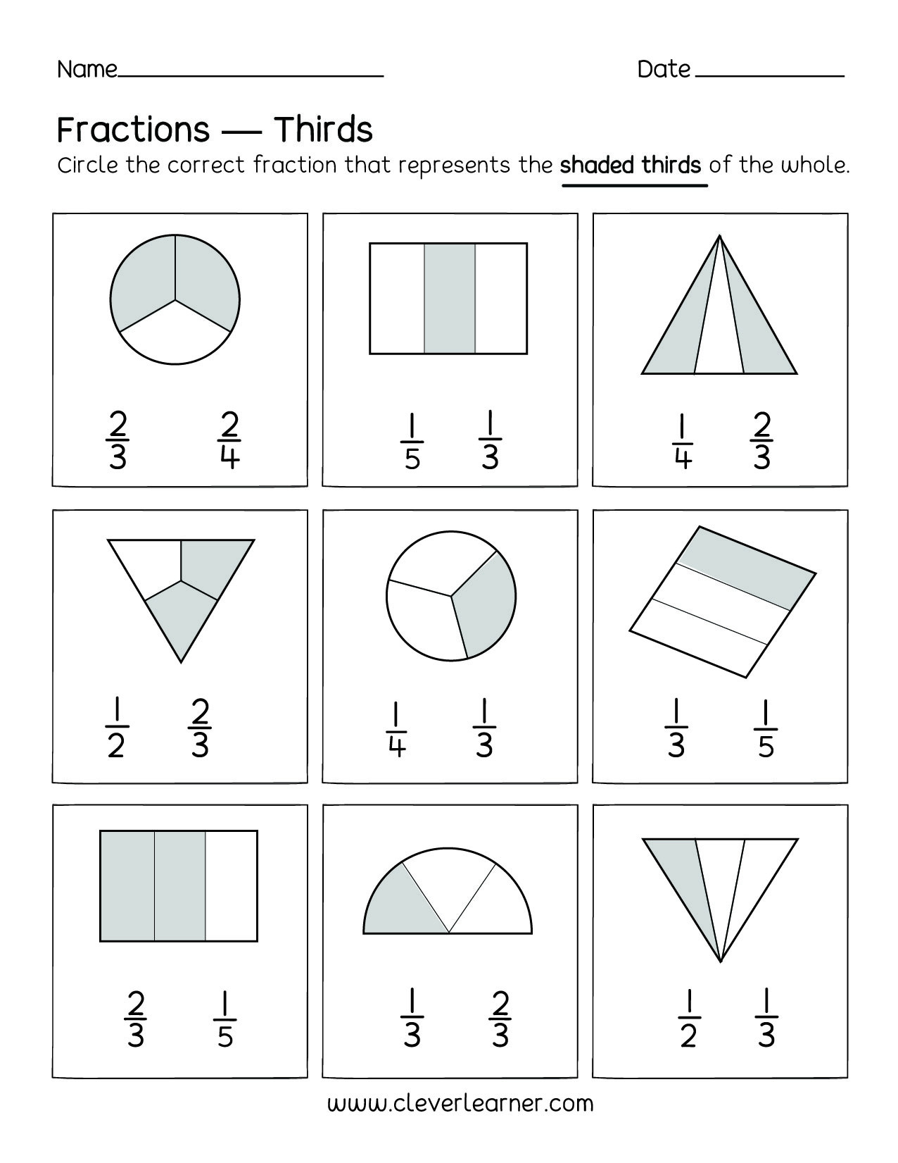 Fractions Worksheets First Grade Fun Activity Fractions Thirds Worksheets for Children