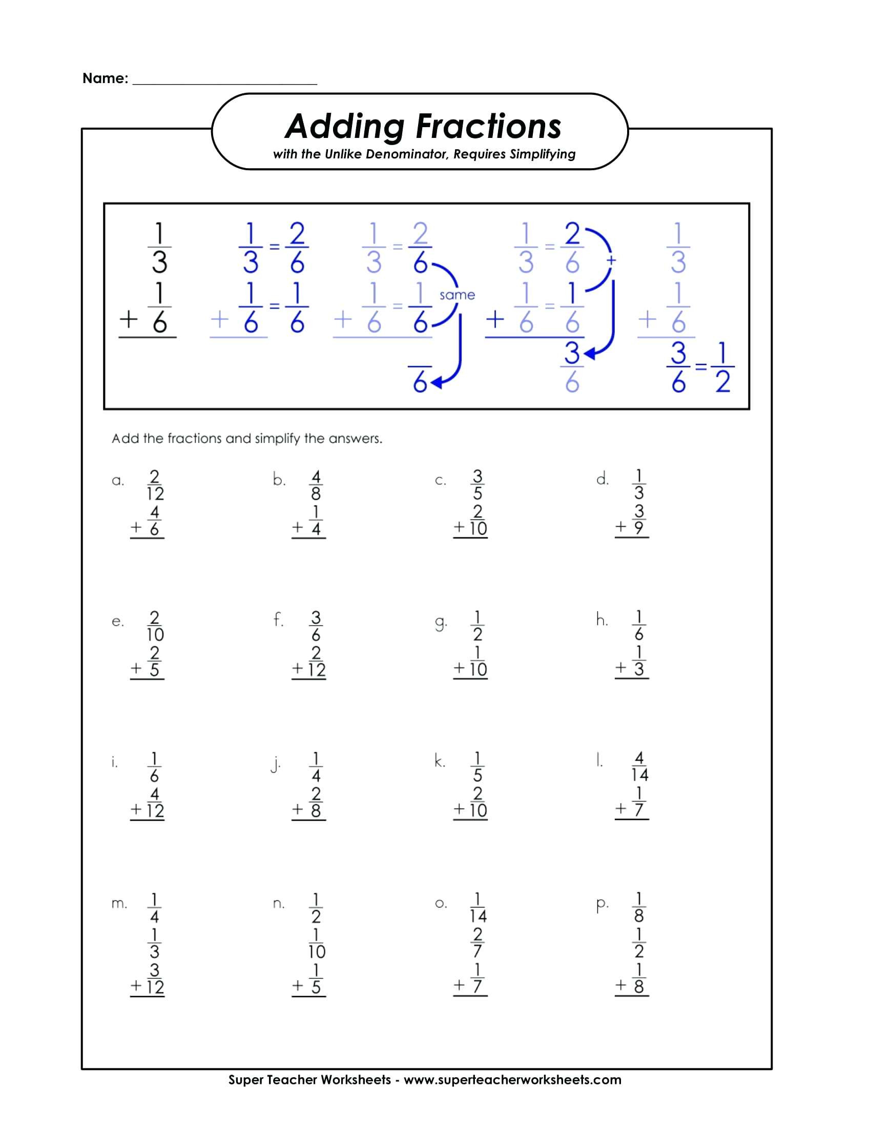 Fractions Worksheets Grade 4 Pdf Adding Fractions Worksheet Super Teacher Worksheets