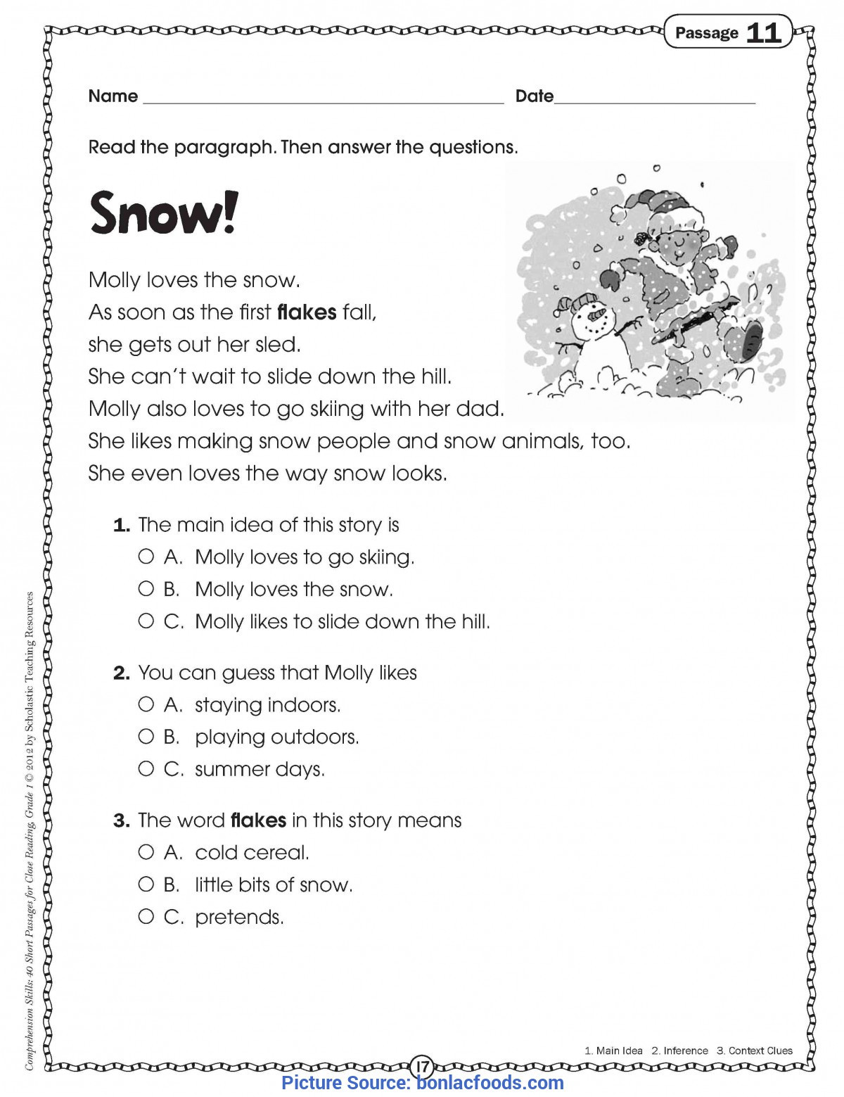 Free 1st Grade Comprehension Worksheets Math Worksheet Math Worksheet Free Reading Prehension
