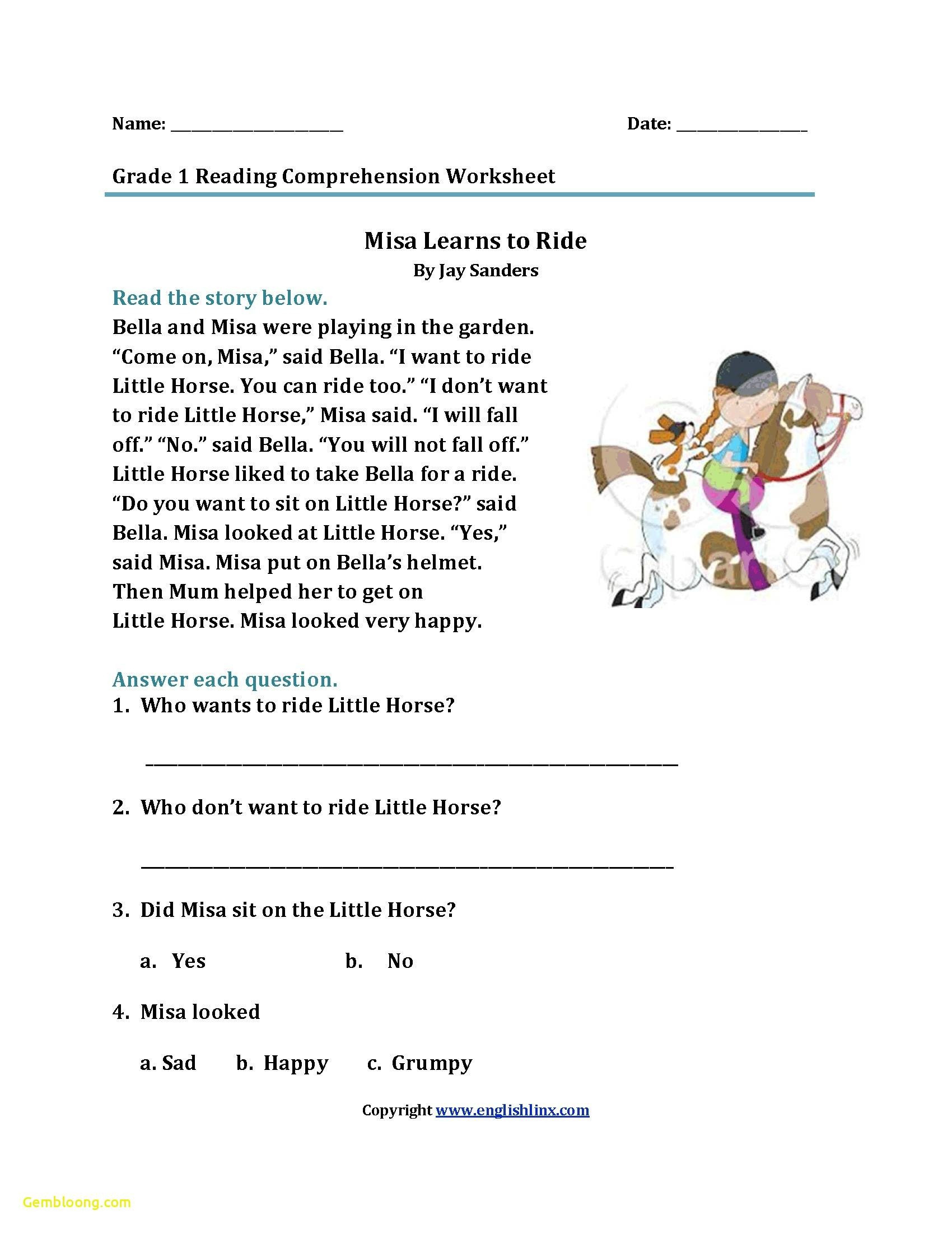 Free 1st Grade Comprehension Worksheets Reading Prehension Worksheet for K 1