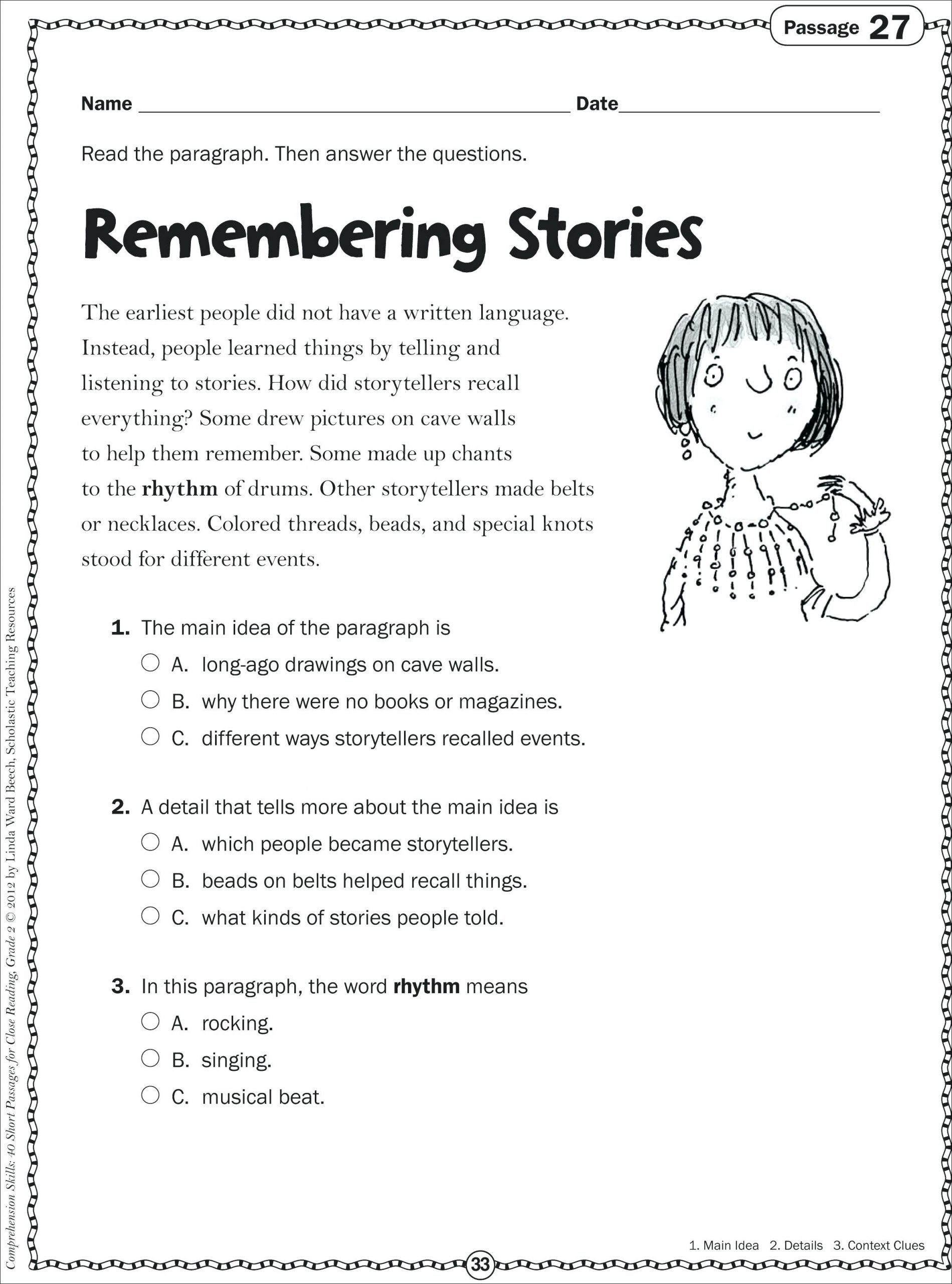 Free 2nd Grade Comprehension Worksheets Math Worksheet Reading Passages 2nd Grade Prehension