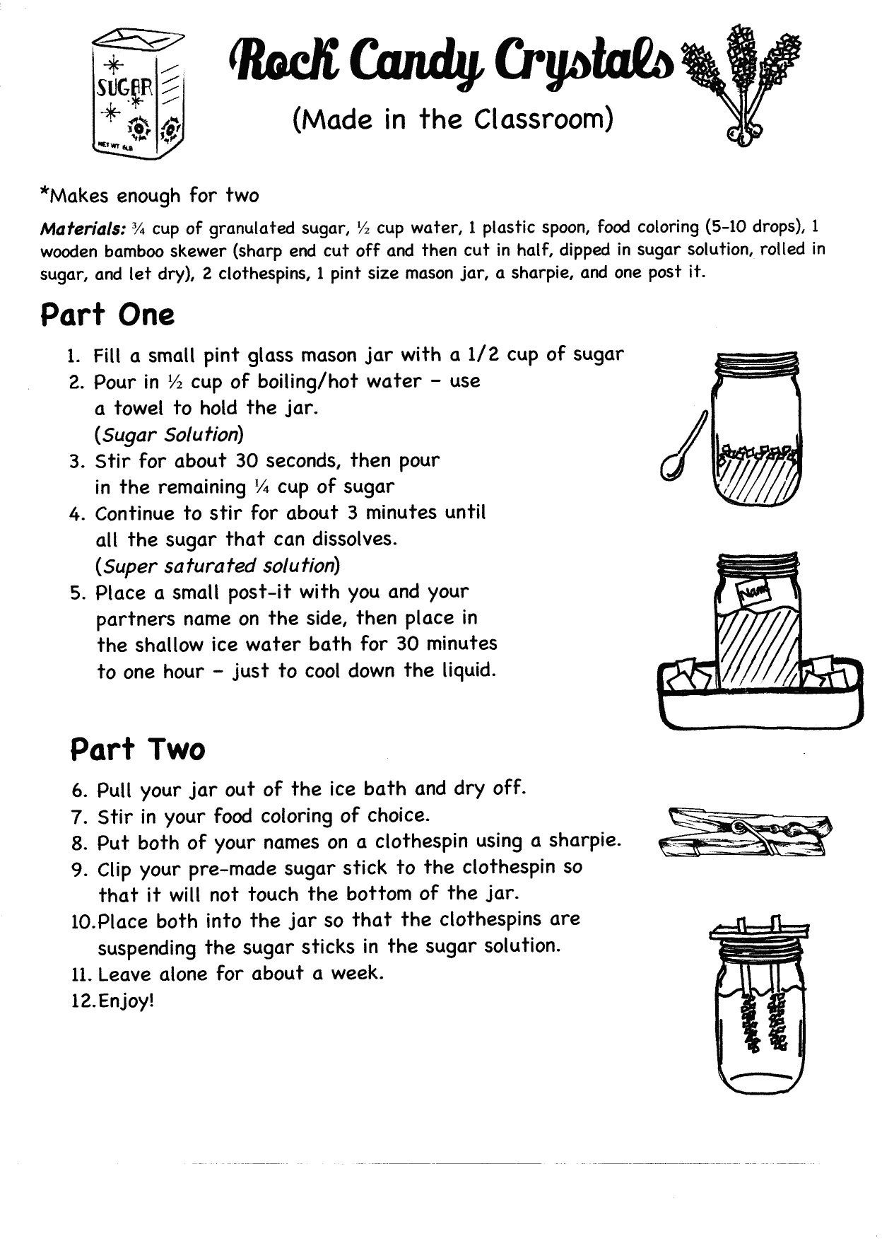 Free 8th Grade Science Worksheets Rock Candy Crystals In the Classroom Pg 1 Of 2 8th Grade