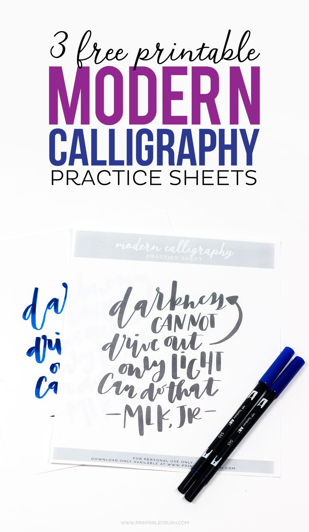 Free Calligraphy Worksheets Printable 3 Free Printable Modern Calligraphy Practice Sheets