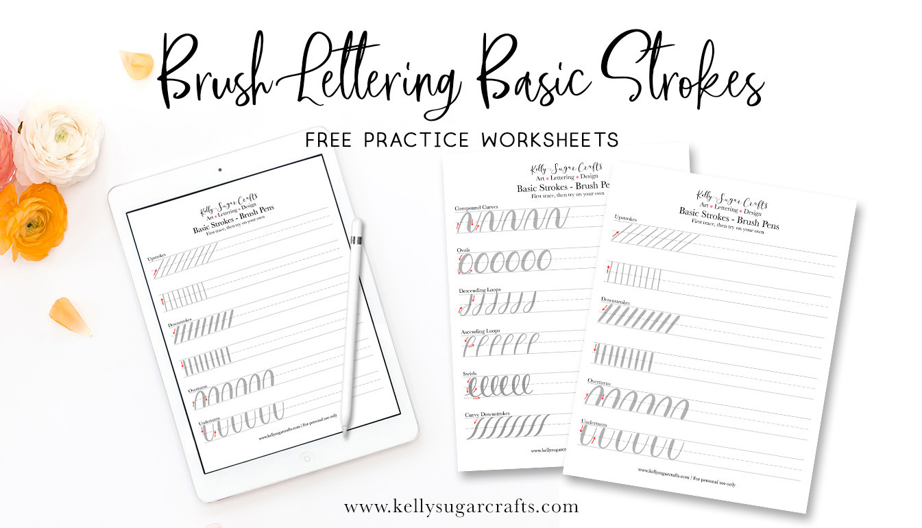 Free Calligraphy Worksheets Printable Brush Lettering Practice Basic Strokes Worksheets