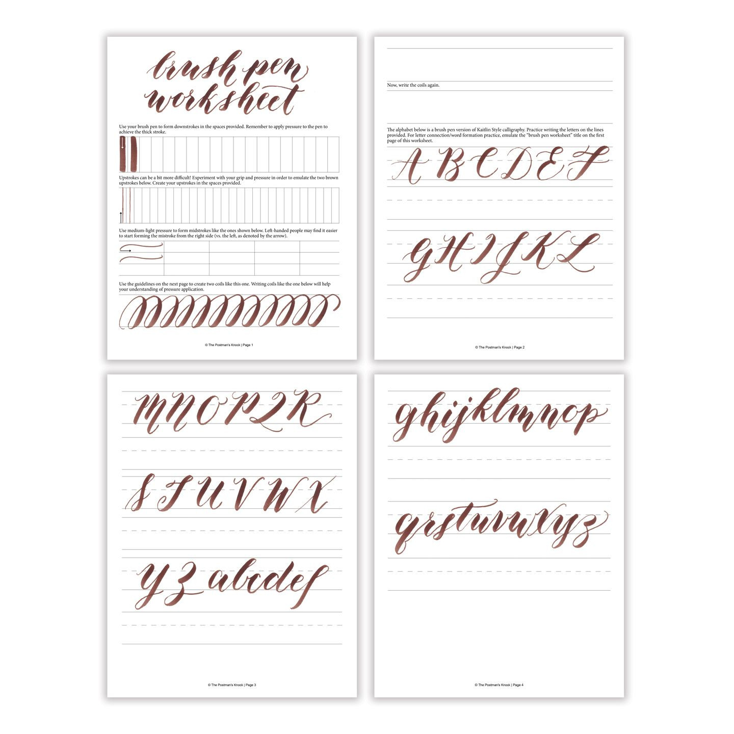 Free Calligraphy Worksheets Printable Free Basic Brush Pen Calligraphy Worksheet – the Postman S