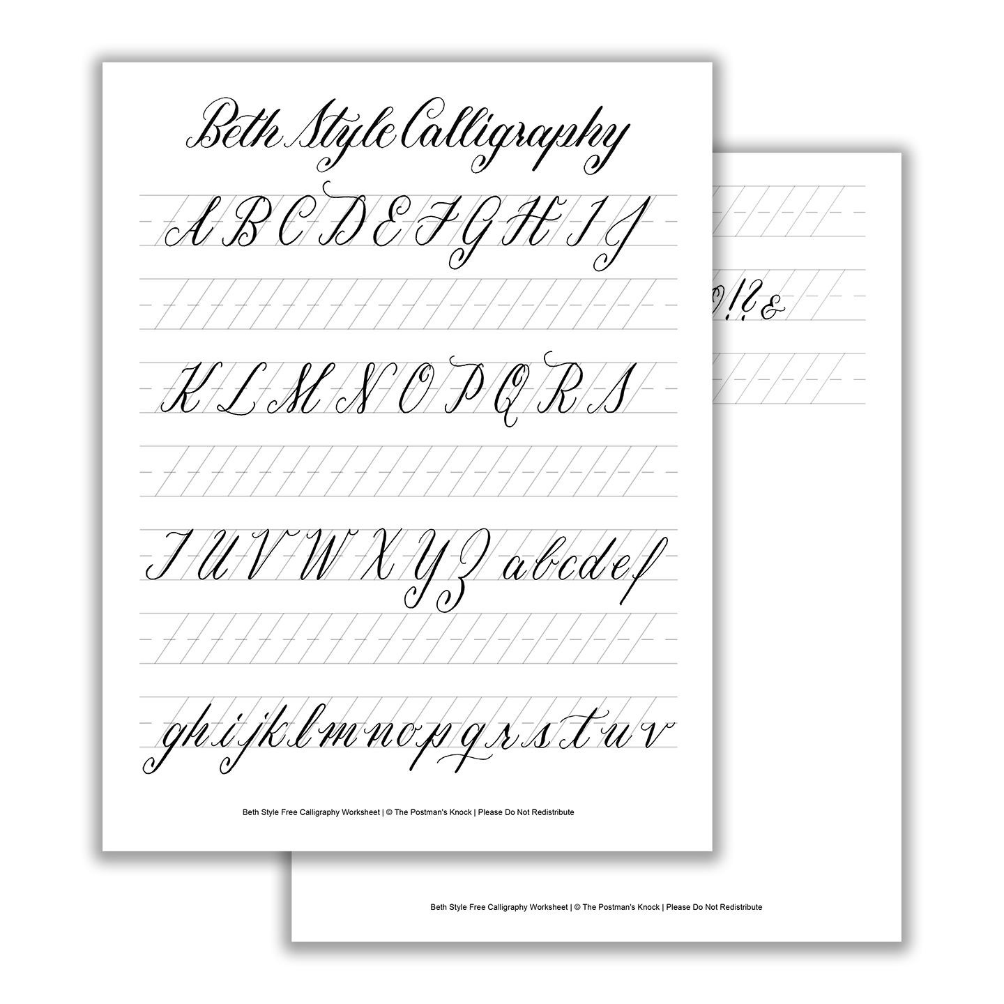Free Calligraphy Worksheets Printable Printable Calligraphy Exemplar Beth Style
