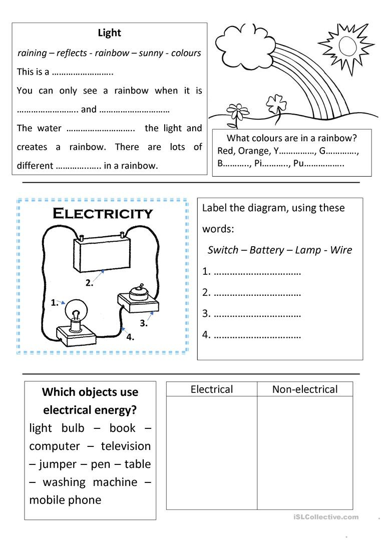 Free Fourth Grade Science Worksheets Science Light and Electricity English Esl Worksheets for