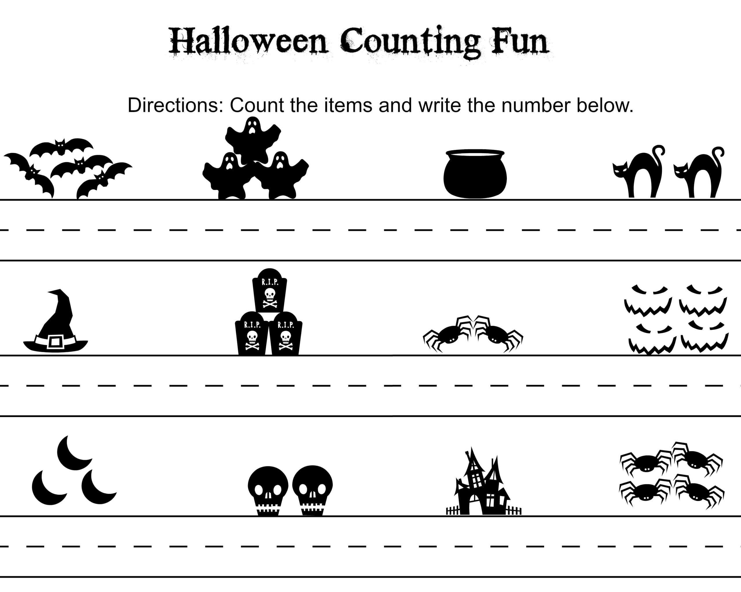 Free Kindergarten Halloween Worksheets Printable Free Halloween Word Search Counting Printables themed Math