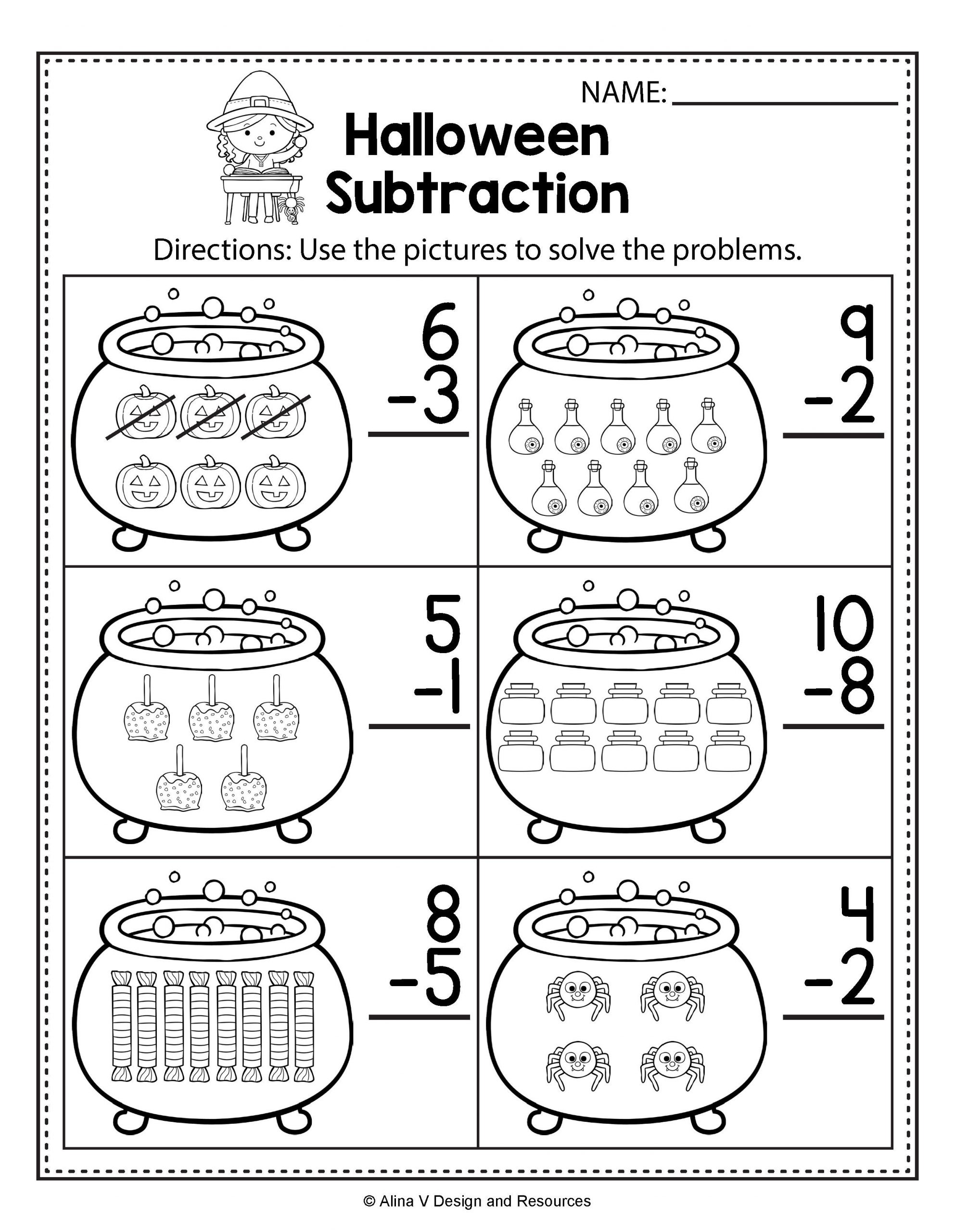 Free Kindergarten Halloween Worksheets Printable Halloween Math & Literacy Activities for Kindergarten 1st