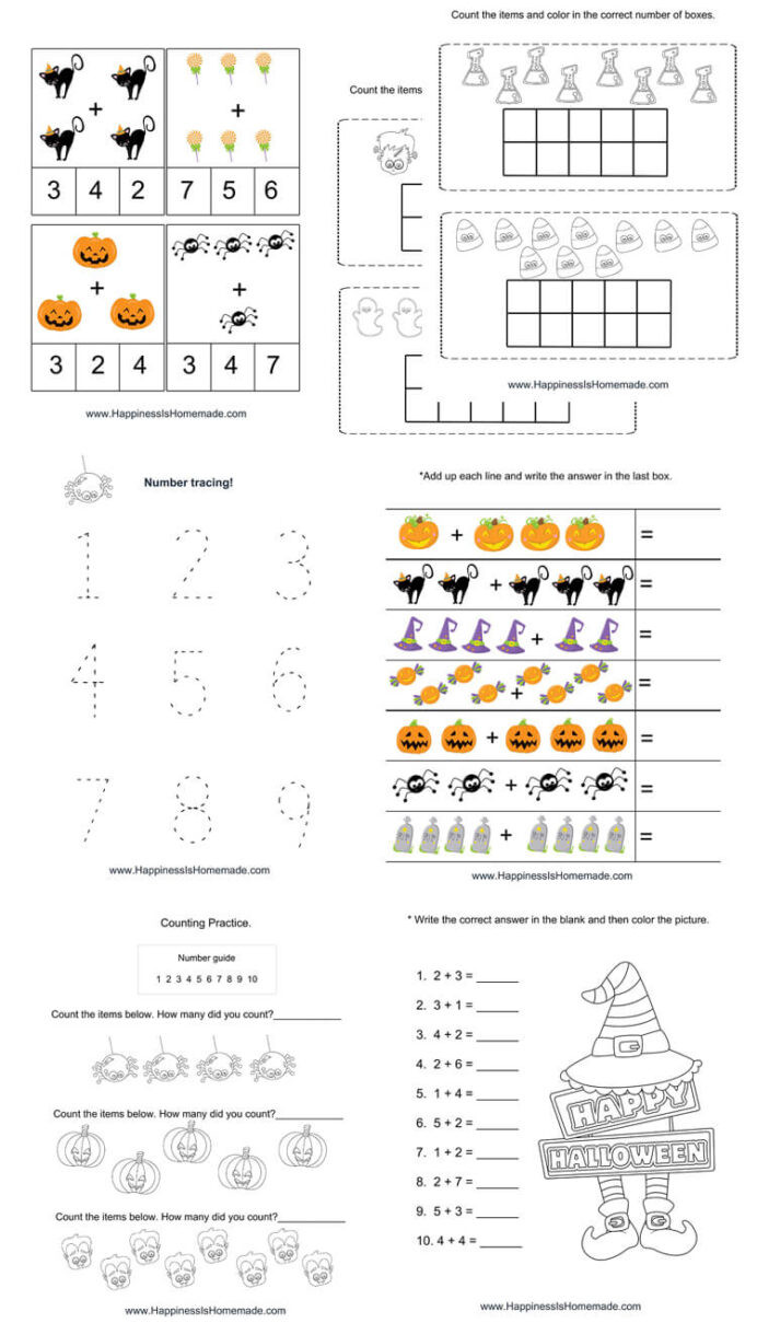 Free Kindergarten Halloween Worksheets Printable Kindergarten Halloween Math Pack Happiness is Homemade