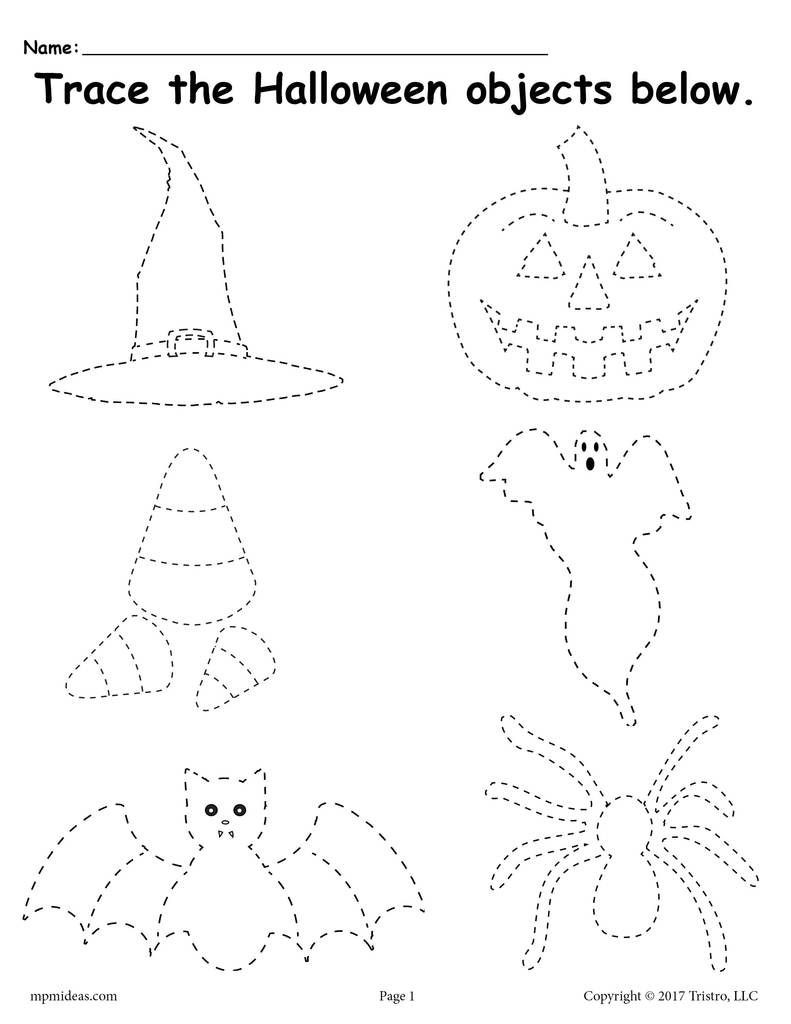 Free Kindergarten Halloween Worksheets Printable Printable Halloween Tracing Worksheet