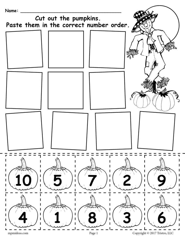 Free Kindergarten Halloween Worksheets Printable Printable Pumpkin Number ordering Worksheet 1 10