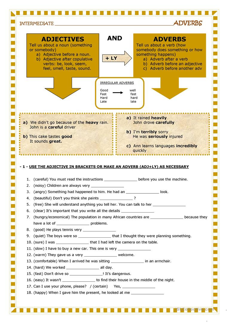 Free Printable Adjective Worksheets English Esl Adverb and Adjective Worksheets Most