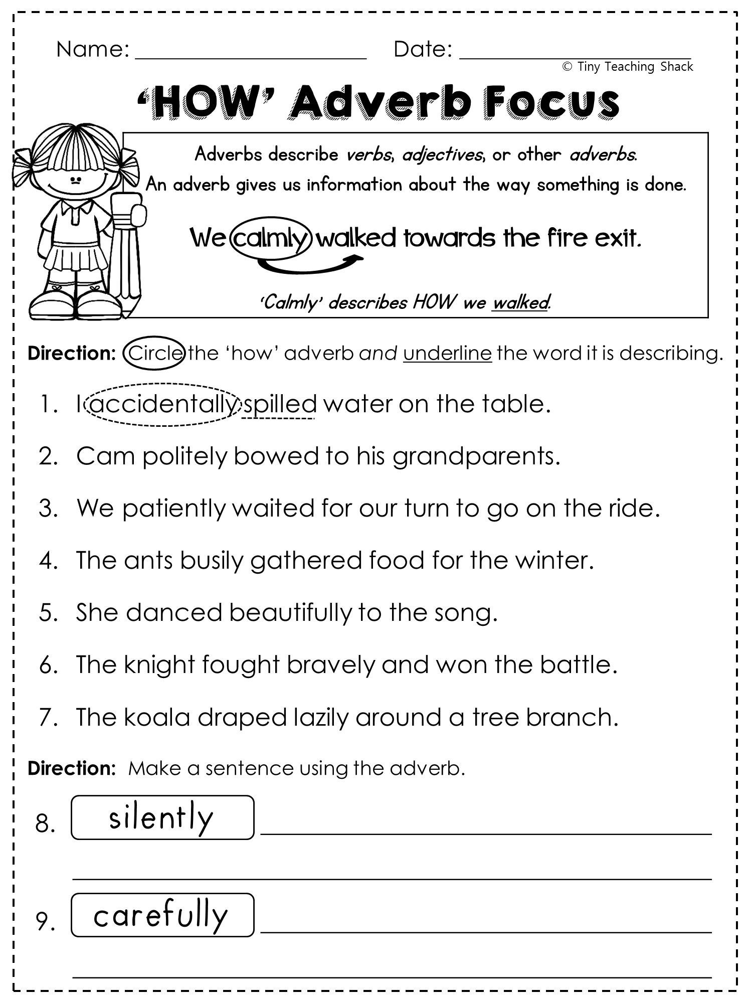 Free Printable Adjective Worksheets Math Worksheet Grade English Worksheets Printable and
