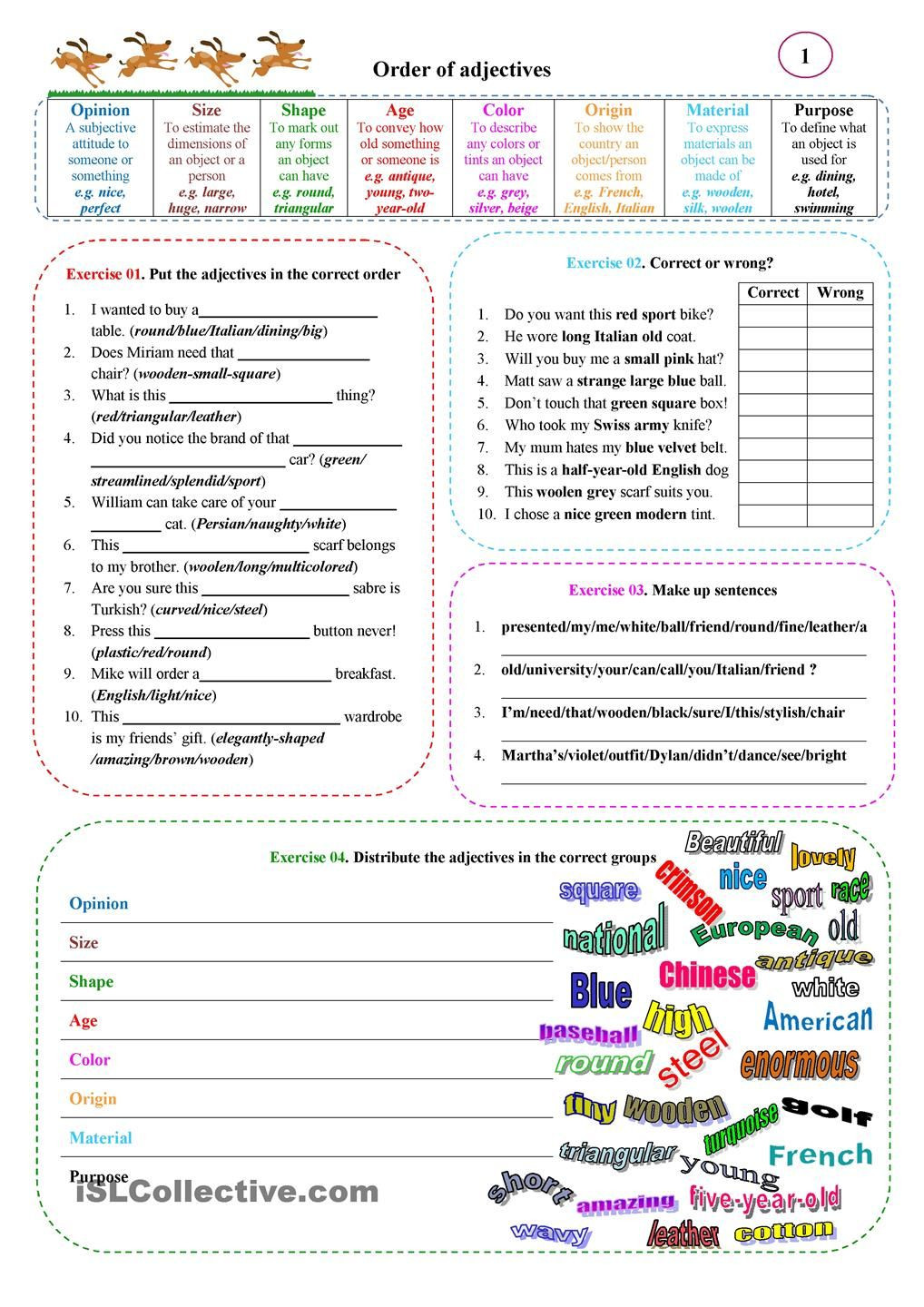 Free Printable Adjective Worksheets order Of Adjectives 01