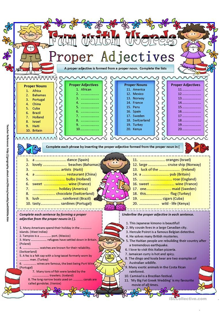 Free Printable Adjective Worksheets Proper Adjectives