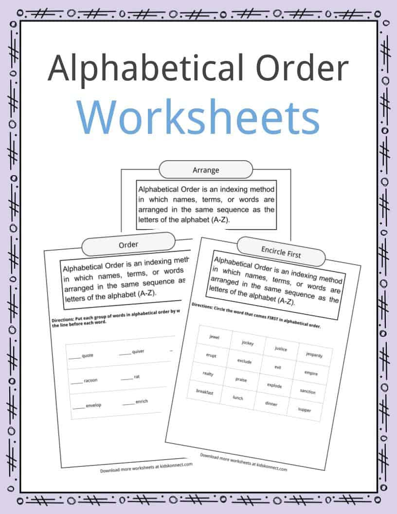 Free Printable Alphabetical order Worksheets Alphabetical order Worksheets Examples & Definition