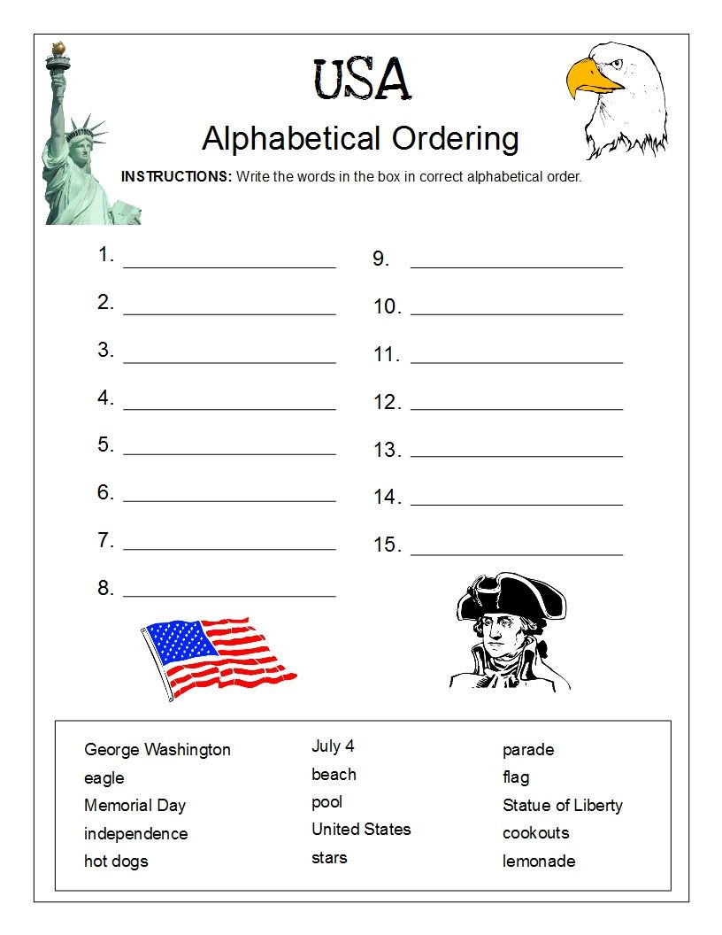 Free Printable Alphabetical order Worksheets Usa Alphabetical order Worksheet Free Perfect for Memorial