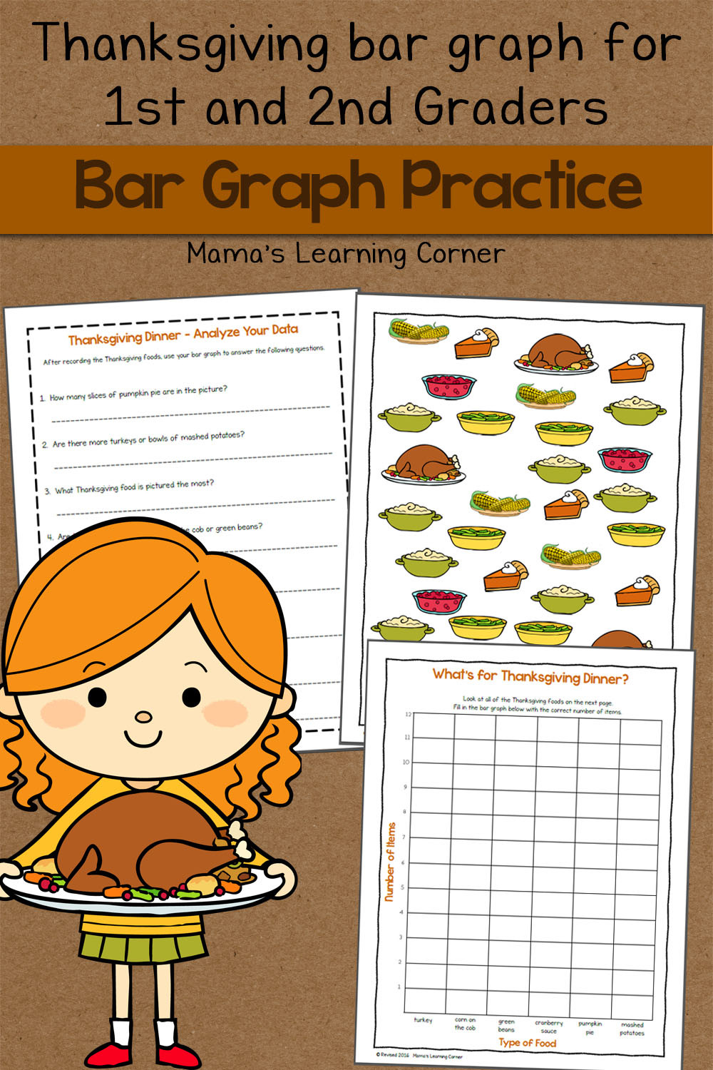 Free Printable Bar Graph Bar Graph Worksheet Thanksgiving Mamas Learning Corner