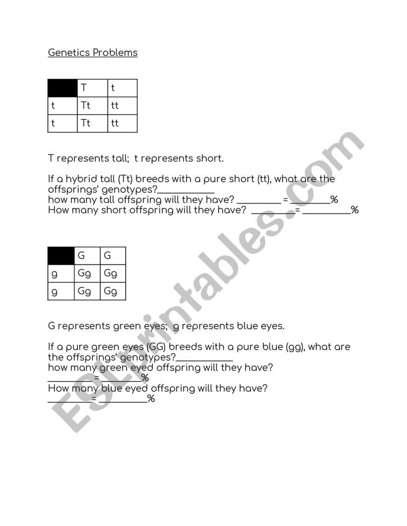 Free Printable Biology Worksheets Biology Genetics Problems Esl Worksheet by E Hinton