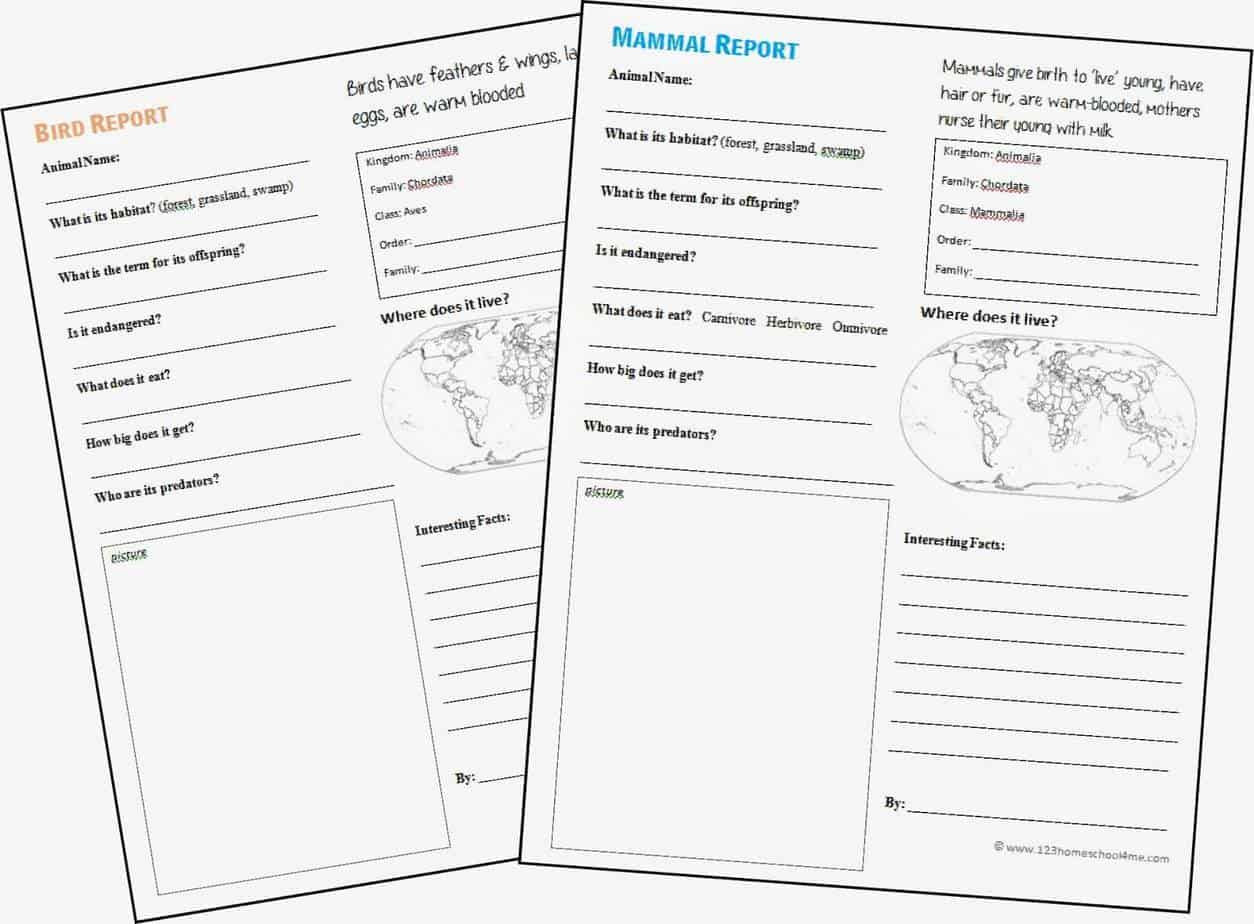 Free Printable Biology Worksheets Free Animal Report Template