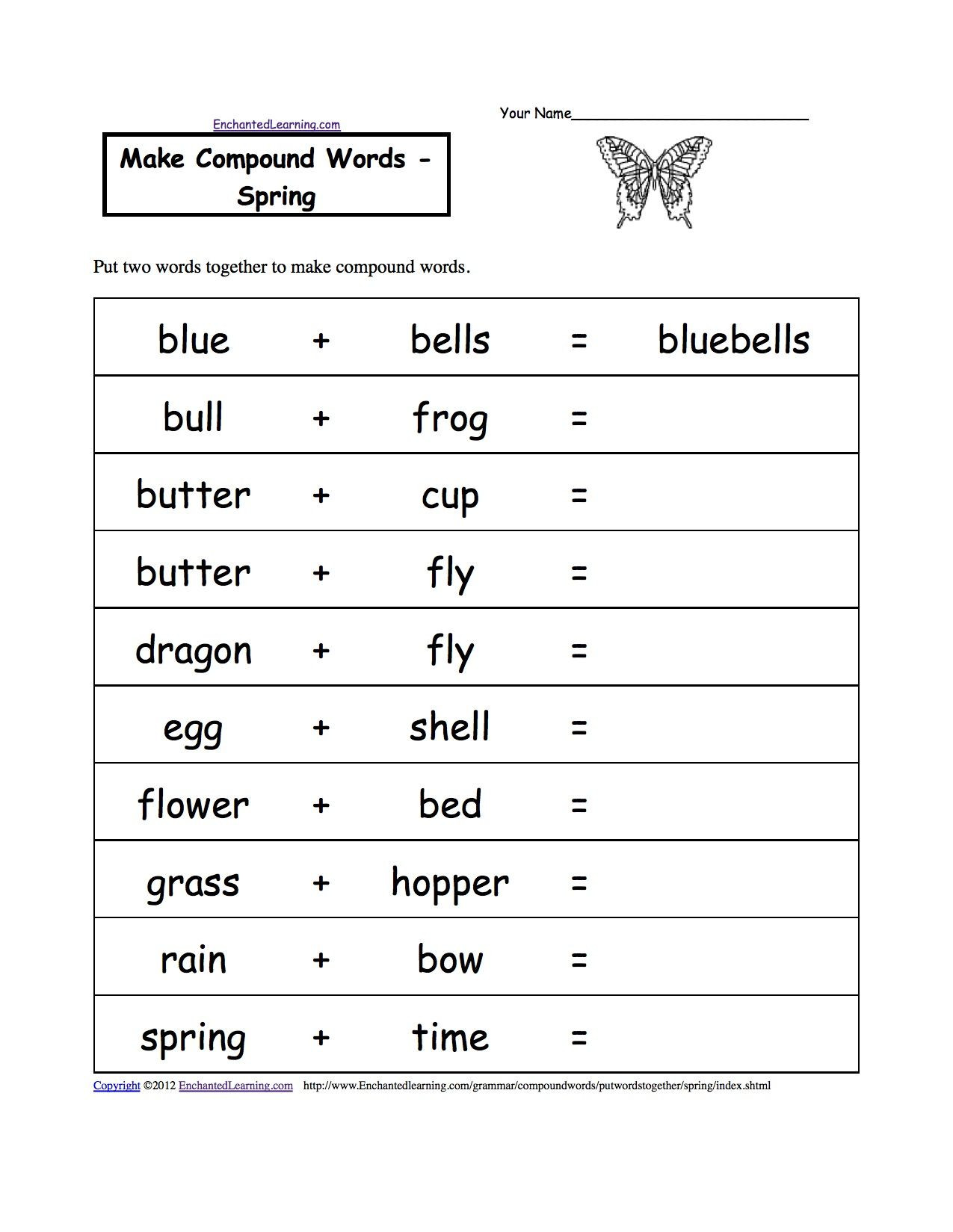 Free Printable Compound Word Worksheets Pound Words Spring