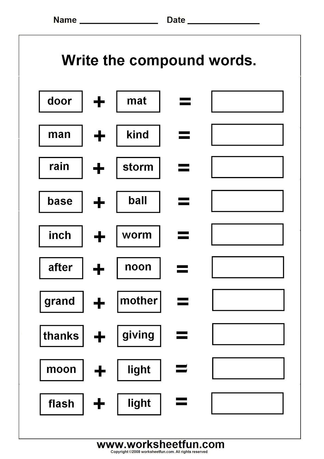 Free Printable Compound Word Worksheets Pound Words Worksheets Grade 3 Worksheets Pound Words
