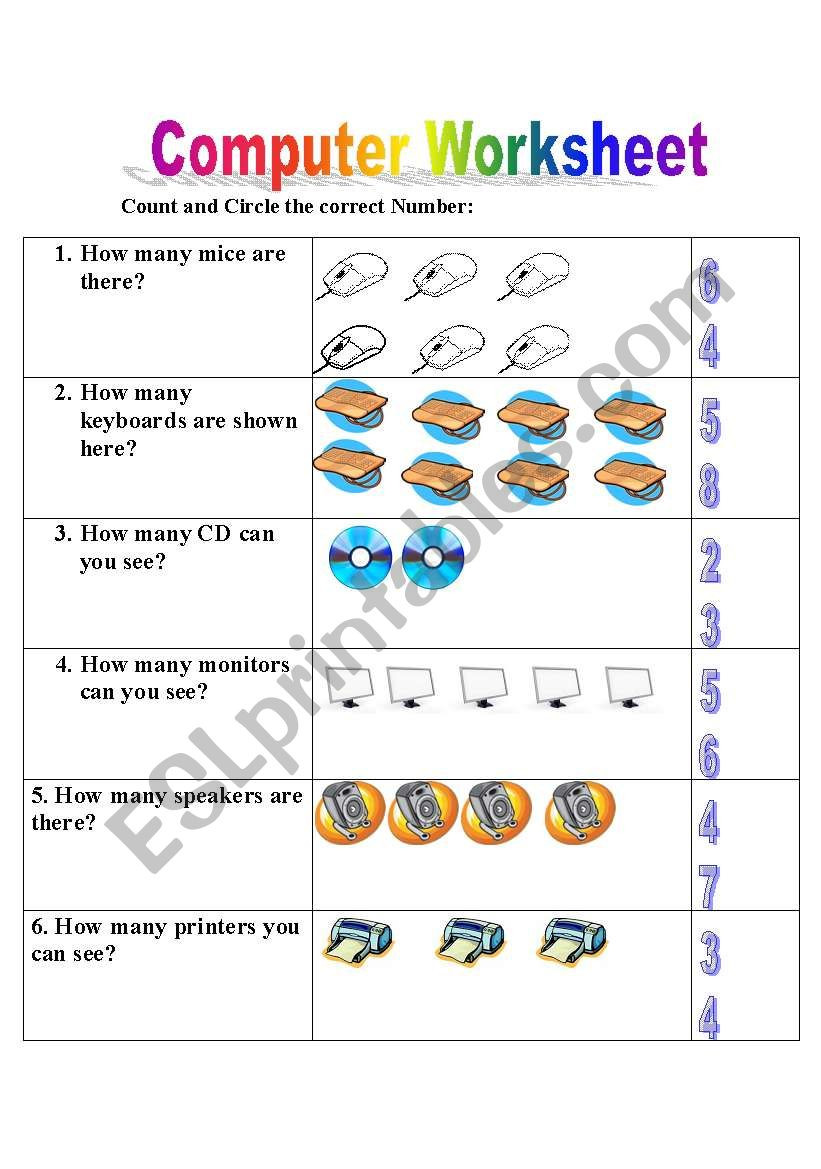 Free Printable Computer Worksheets English Worksheets Puter Worksheet