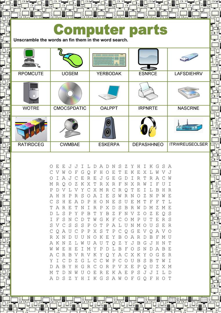 Free Printable Computer Worksheets Wordsearch Puter Parts English Esl Worksheets for