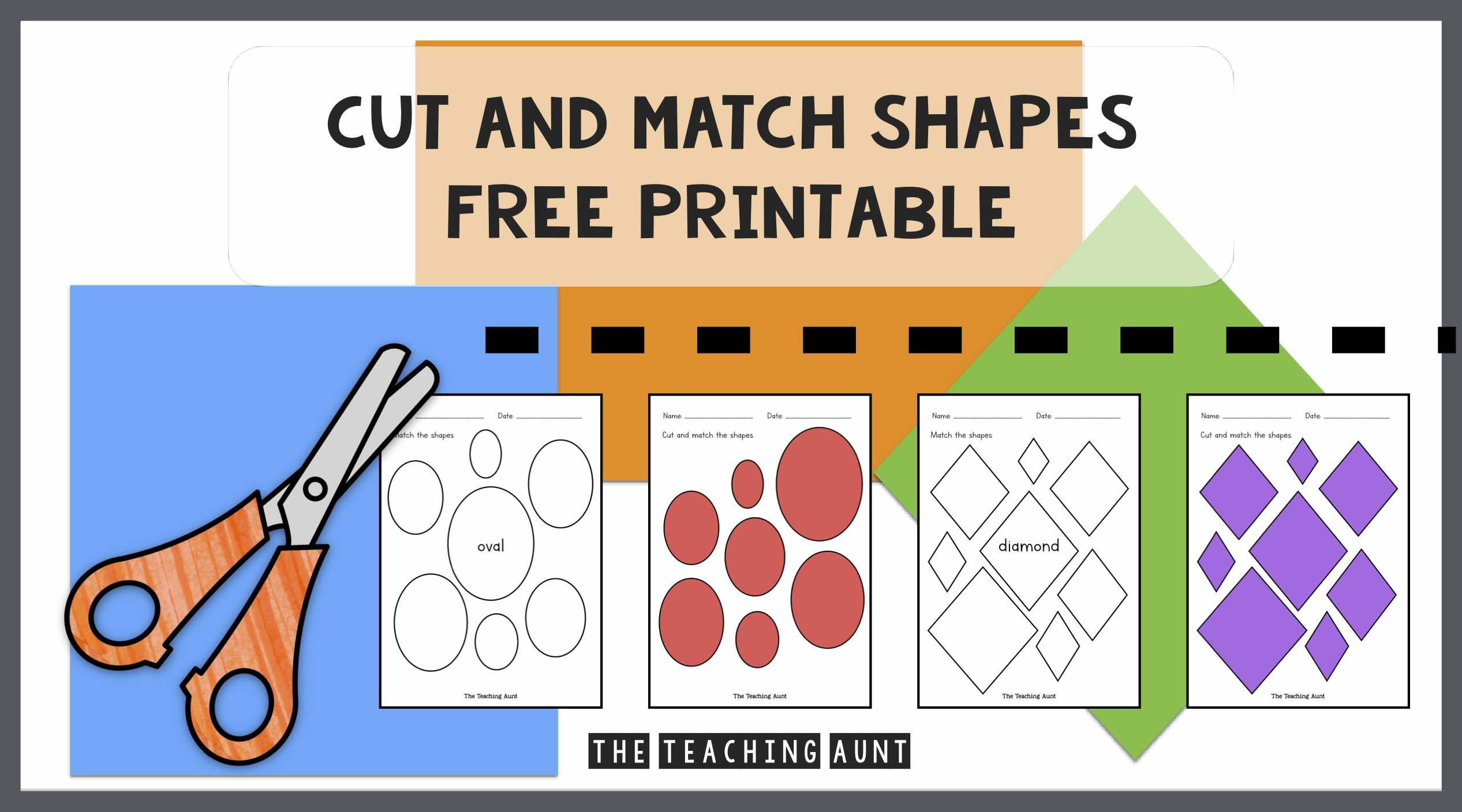 Free Printable Cutting Worksheets Cut and Match Shapes Worksheets the Teaching Aunt