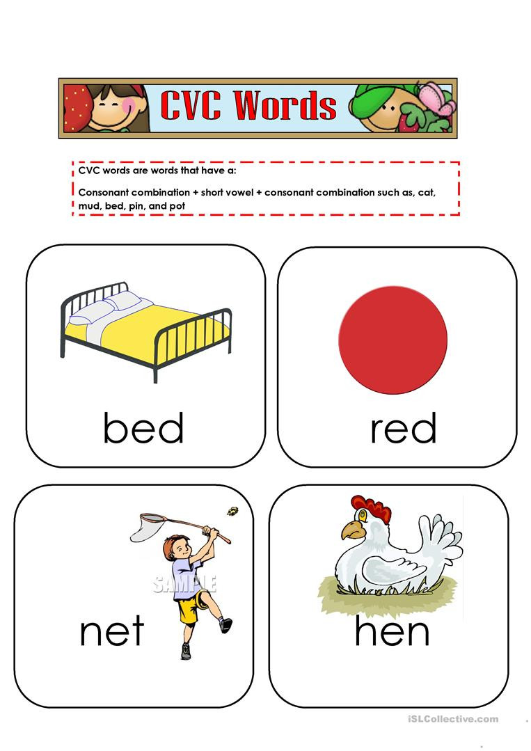 Free Printable Cvc Worksheets Cvc Words Flashcards English Esl Worksheets for Distance